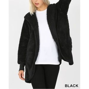 New! Black Soft Fur Sherpa Coat Bundle 2 For $49